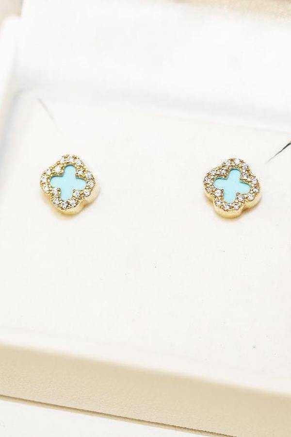 9ct yellow Gold Turquoise Four Leaf Clover Earring