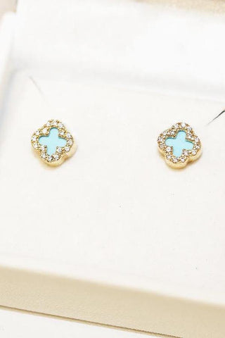 55d1d79eb Al'oro. 9ct yellow Gold Turquoise Four Leaf Clover Earring
