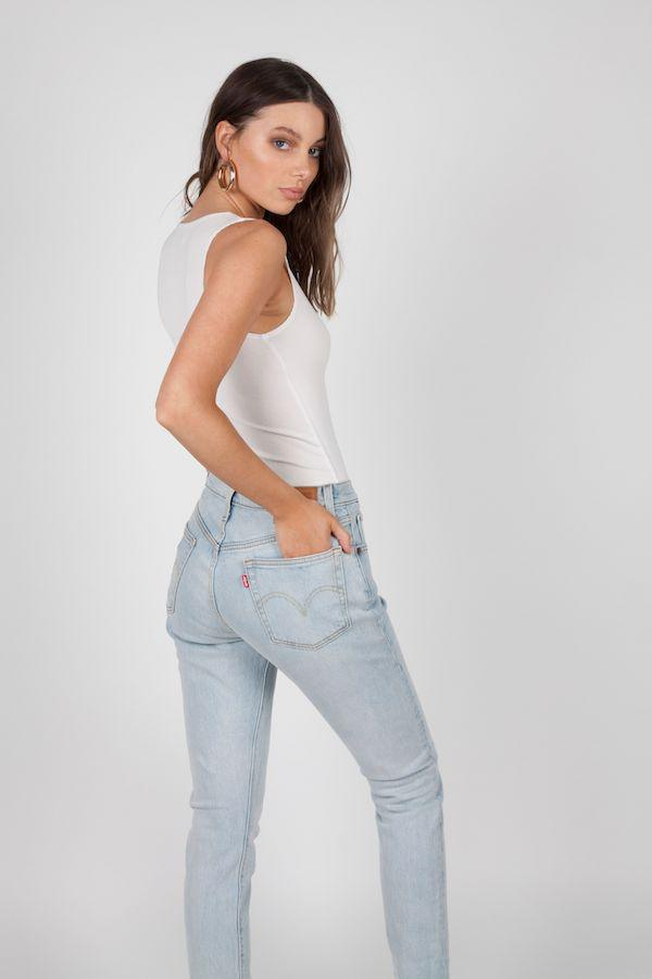 BAYSE | Crew Neck Button Down Bodysuit White | Girls With Gems