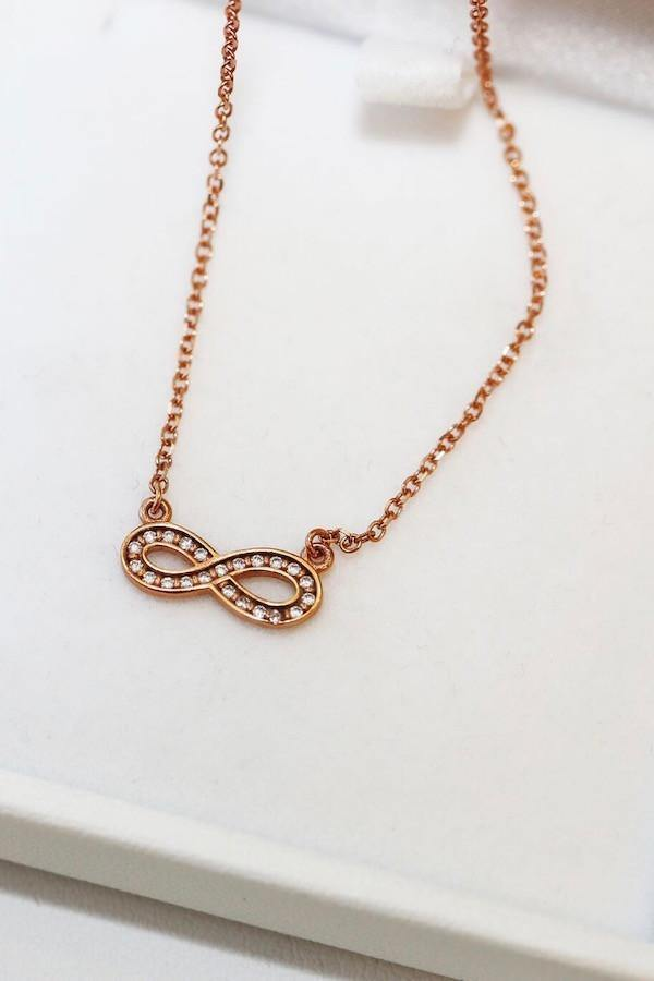 9ct Rose Gold Infinity Necklace - Girls with Gems