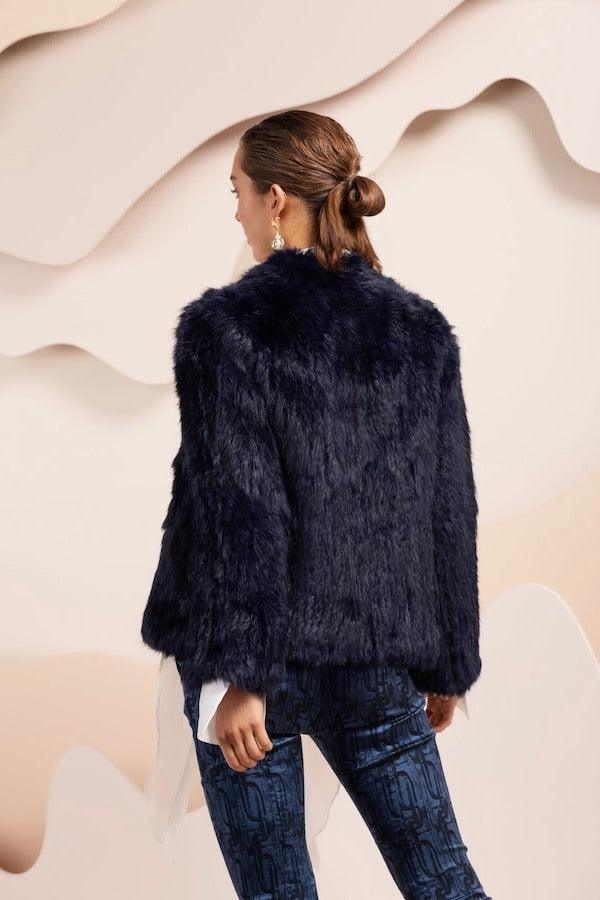 Bubish | Valencia Fur Jacket Navy Blue | Girls With Gems