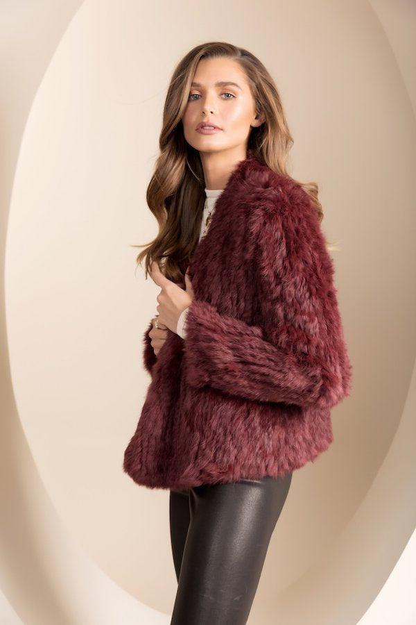 Bubish| Valencia Fur Jacket - Wine | Girls With Gems