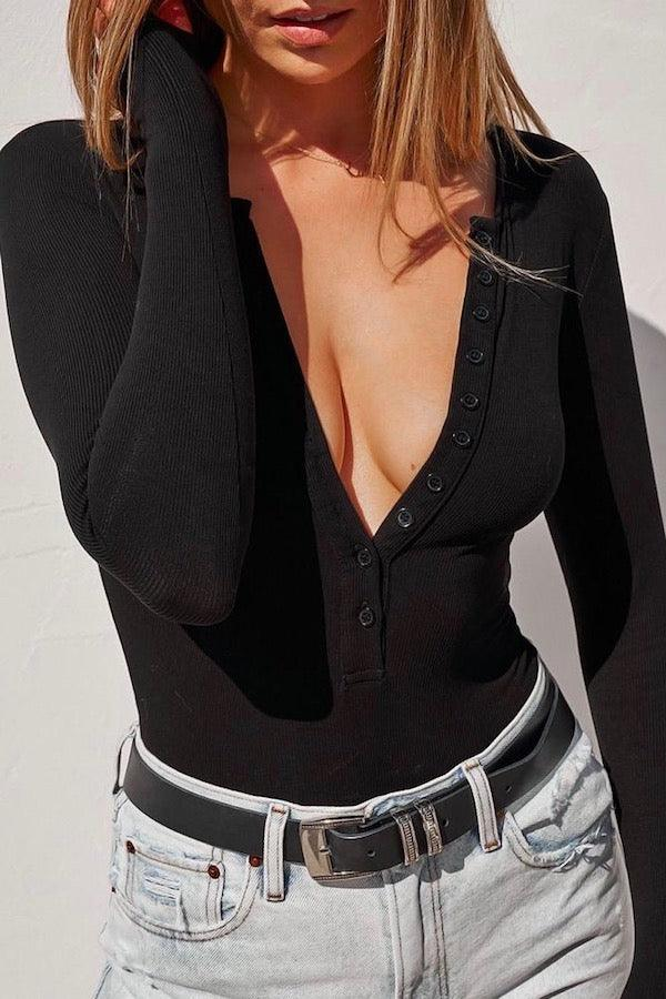 Long Sleeve Crew Neck Button Down Bodysuit Black