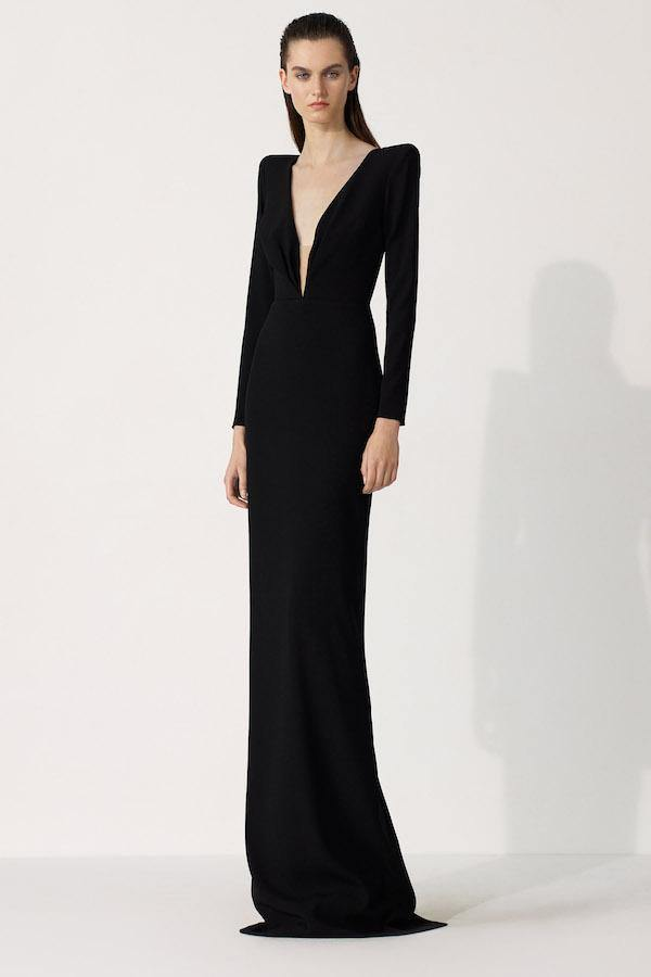 Alex Perry | Alex Satin Crepe Pleated V Long Sleeve Column Gown Black | Girls with Gems