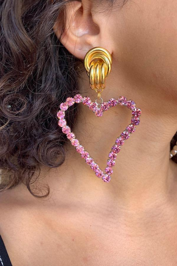 All Of My Heart Earrings Baby Pink Stone