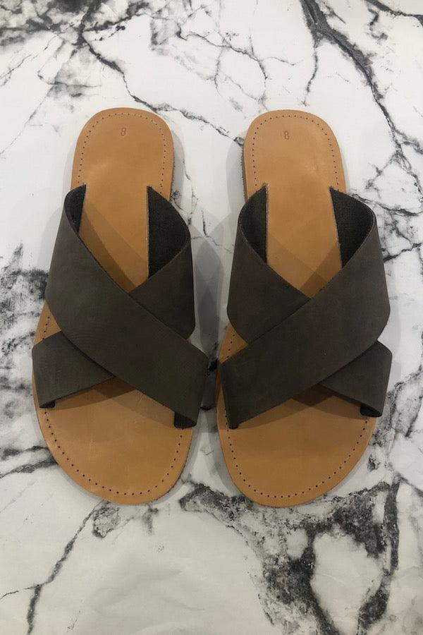 Criss Cross Sandals Taupe Suede