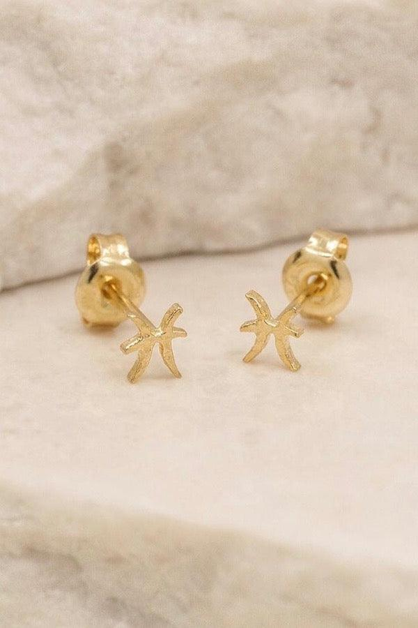 By Charlotte | Gold Pisces Stud Earrings | Girls with Gems