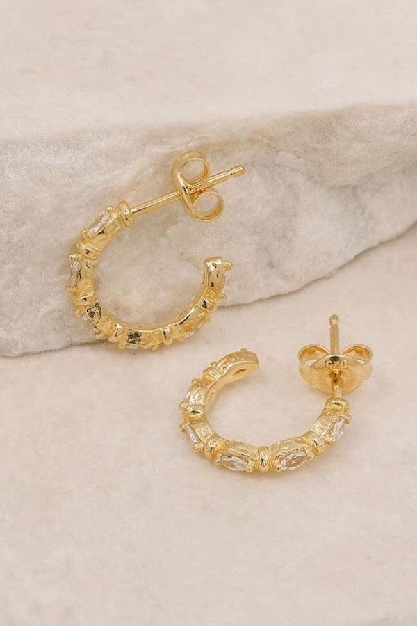 By Charlotte | Gold Stars Align Hoops | Girls with Gems