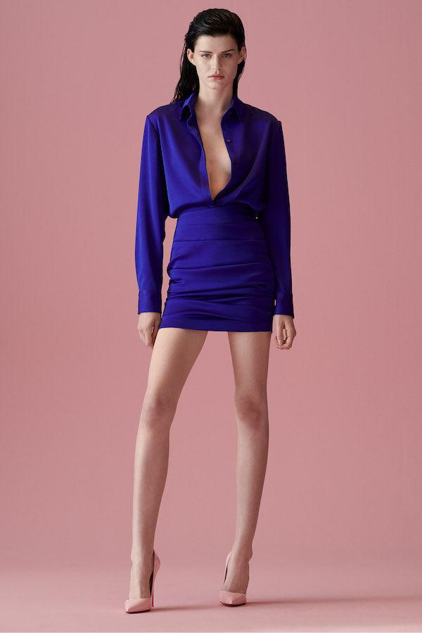 Alex Perry | Harper Satin Crepe Shirt Blue | Girls with Gems