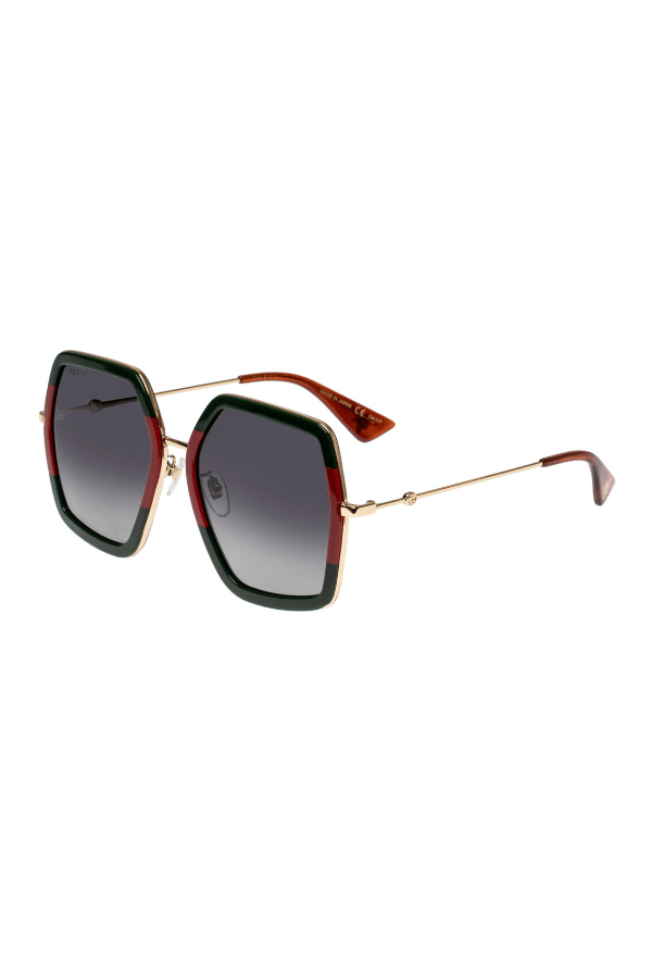 Gucci | Oversize Square-Frame Metal Sunglasses Green/Red Acetate | Girls With Gems