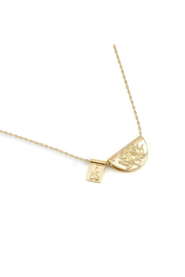 By Charlotte | Gold Lotus and Little Buddha Short Necklace | Girls with Gems
