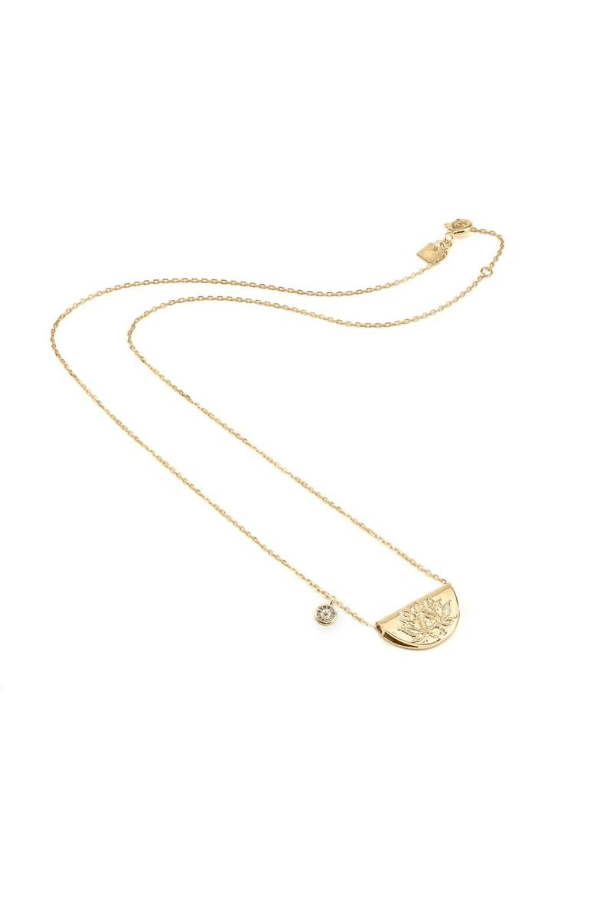 By Charlotte | Gold Lucky Lotus Necklace | Girls with Gems