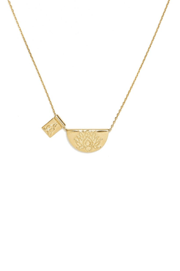 Gold Lotus and Little Buddha Short Necklace