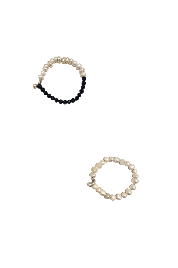 Hermina Athens | Style Love Black & White Ring Set | Girls with Gems