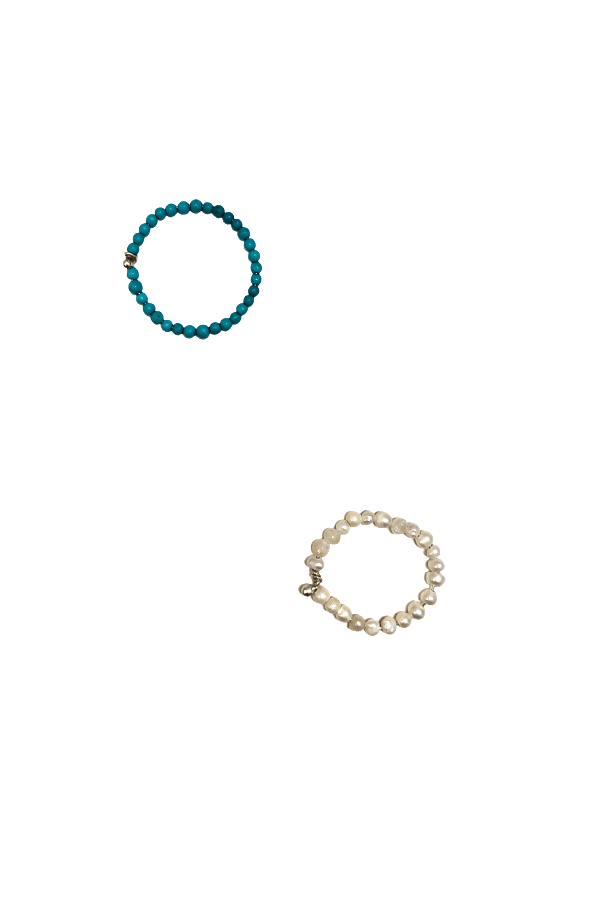 Stylelove Turquoise & White Ring Set