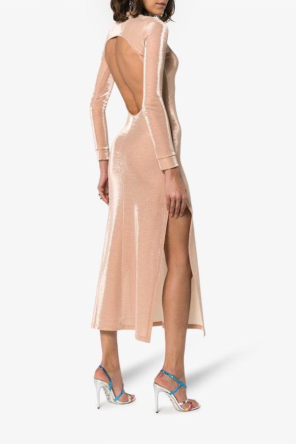 Michael Lo Sordo | Backless Jersey Dress W/ Side Split - Nude | Girls with Gems