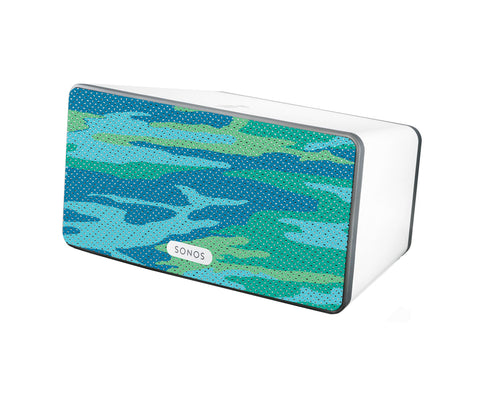 Camo Aqua Speaker Skin Sonos Play:3 White