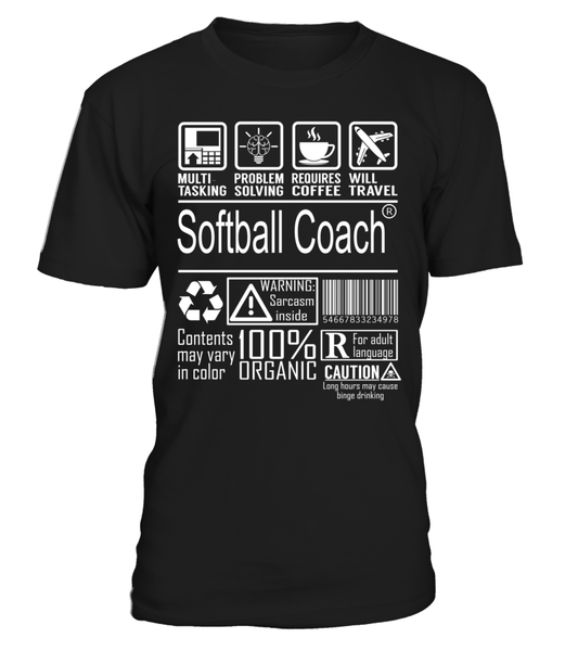 Softball Coach Multitasking Job Title T-Shirt