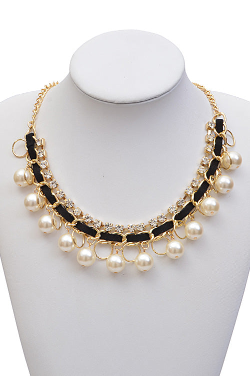 "21.50"" gold crystal pearl multi layered chain choker necklace"