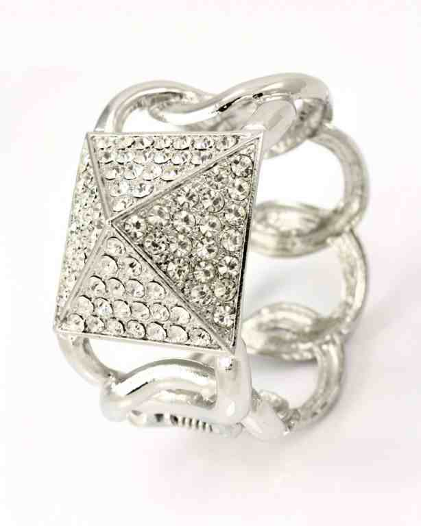 "1.50"" wide crystal pave arm candy stack bracelet bangle cuff hinged"