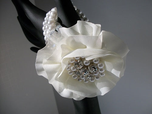 "3"" wide flower crystal faux cream pearl stretch bracelet bangle cuff bridal prom"