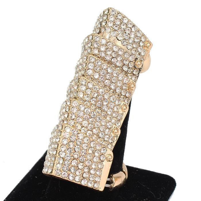 "2.30"" long gold crystal stretch ring free size cocktail bridal prom"