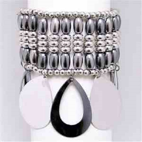 "3"" wide hematite dangle arm candy stack stretchbracelet bangle cuff"