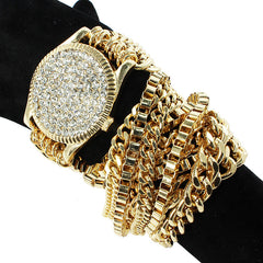 "22"" long crystal paved wrap layered bracelet bangle"