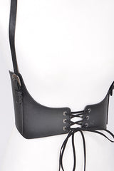 "black faux leather suspender corset belt elastic stretch 25.5"" length 6.25"" wide"