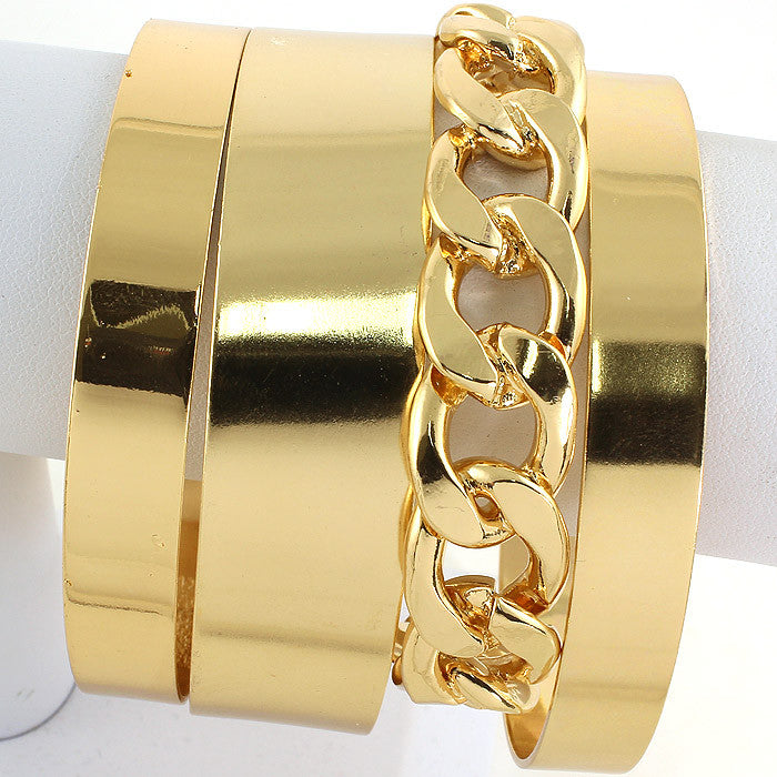 "9"" gold chain link open cuff 4 separate bracelet bangle cuff"