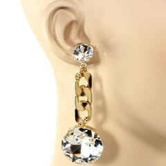 "3"" clear gold crystal dangle earrings pierced prom bridal"