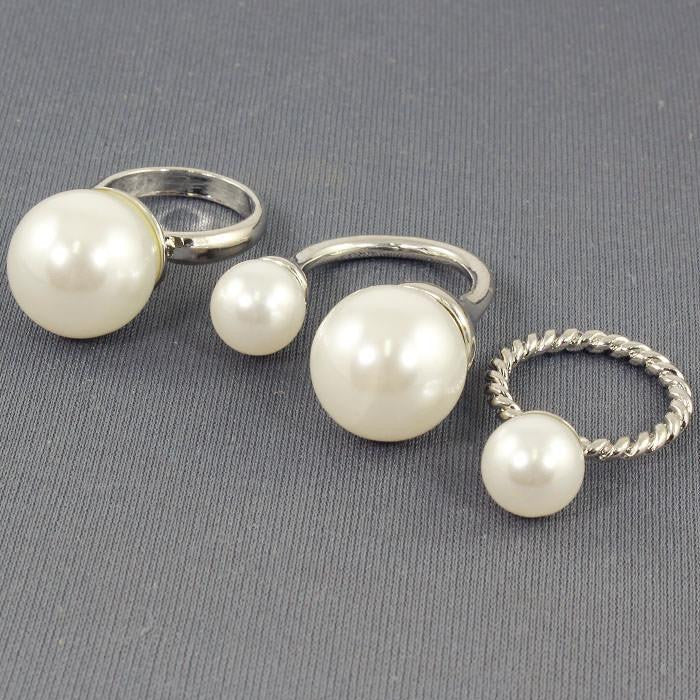 3 piece faux pearl midi rings