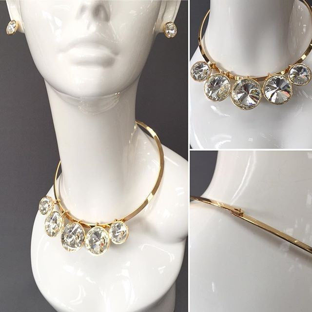 "16"" gold crystal pendant choker latch necklace .50"" earrings"