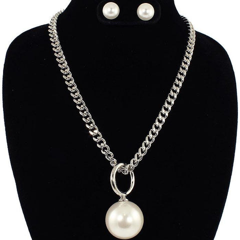 "19"" silver large 1"" faux pearl pendant necklace .50' earrings"