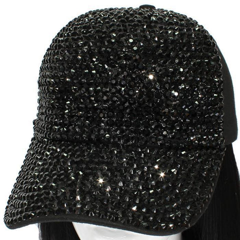 black crystal bling denim cap hat