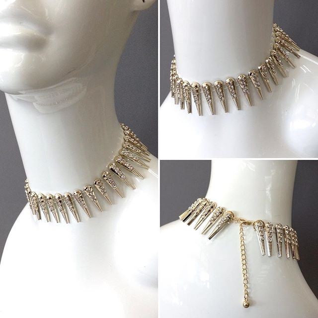 "12"" gold crystal 1"" spike metal choker collar necklace"