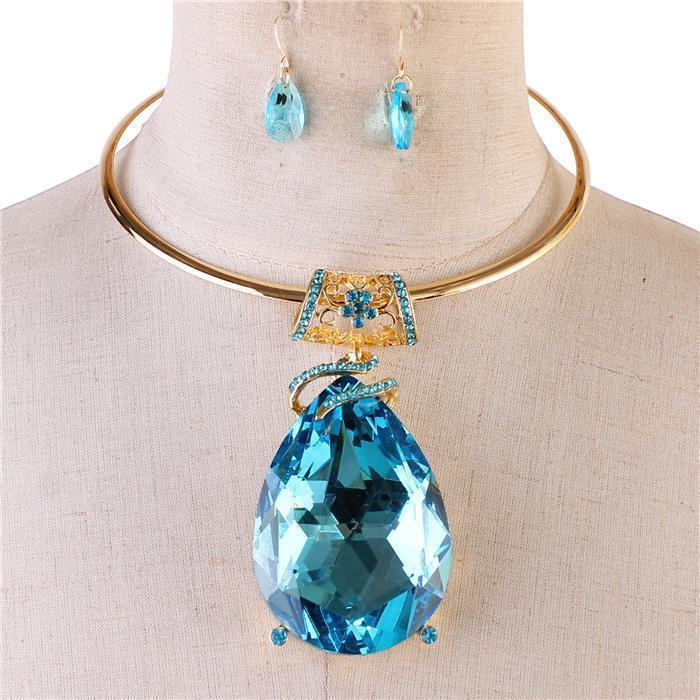 "17"" crystal 2.50"" teardrop pendant choker bib necklace .75"" earrings"