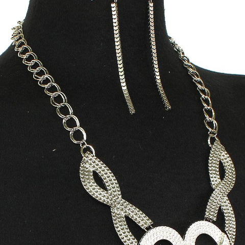 "18"" silver metal braid bib necklace 3"" earrings 7"" drop 4.25"" tassel fringe"