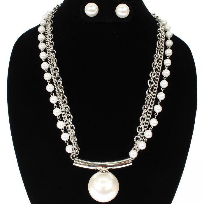 "20"" silver pearl layered choker collar statement bib necklace stud earrings"