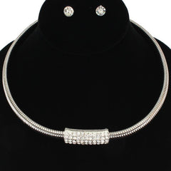 "18"" crystal snake chain choker collar necklace .25"" earrings"