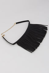 "12"" black faux leather fringe tassel necklace choker collar"