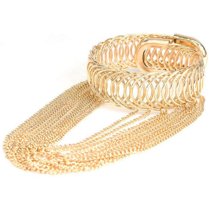 "3.30"" drop chain gold boho dangle bangle cuff adjustable bracelet upper arm cuff"