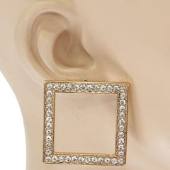 "1.25"" gold crystal square earrings basketball wives"