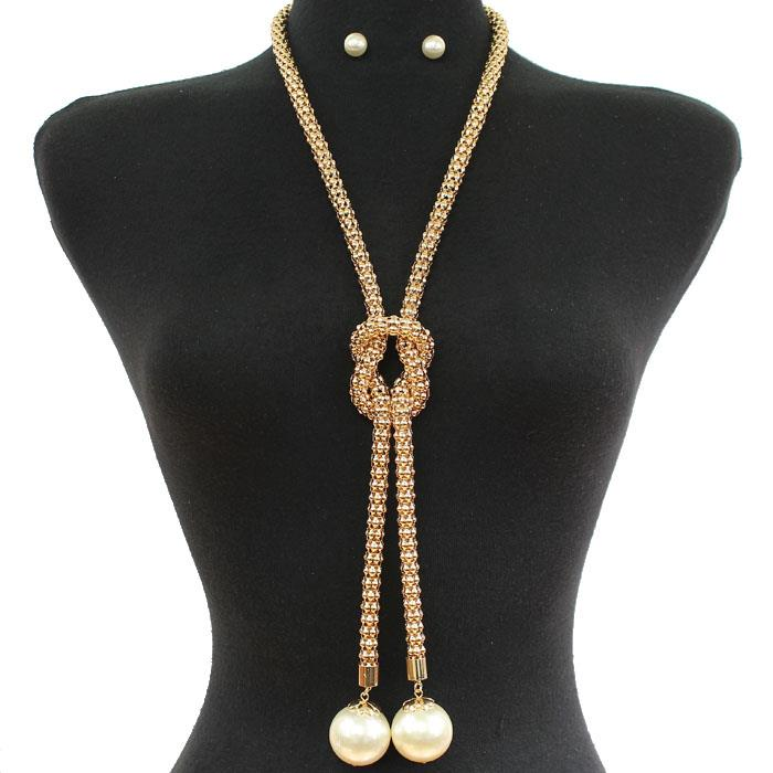 "25"" gold knot necklace .30"" earrings 6"" drop"