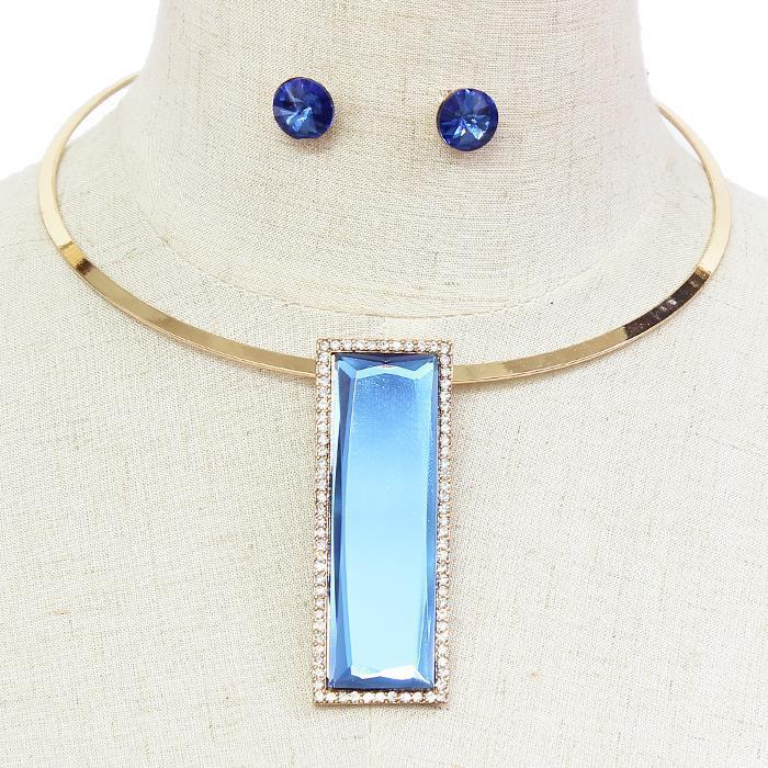 "12"" gold 2.75"" blue rectangle crystal choker collar necklace .30"" earrings"