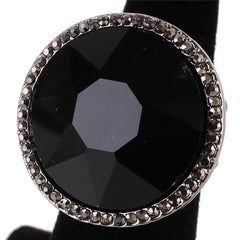 "1.10"" crystal pave round large stretch cocktail ring"