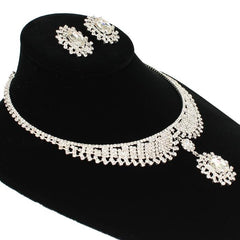 "13"" silver crystal dangle choker necklace 1"" earrings bridal prom"