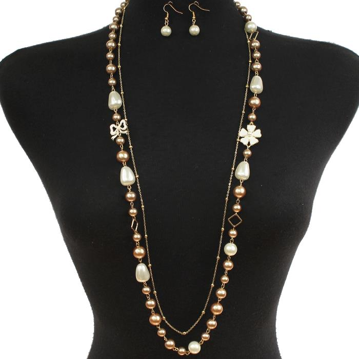 "72"" faux pearl beads flowers layered necklace .75"" earrings"