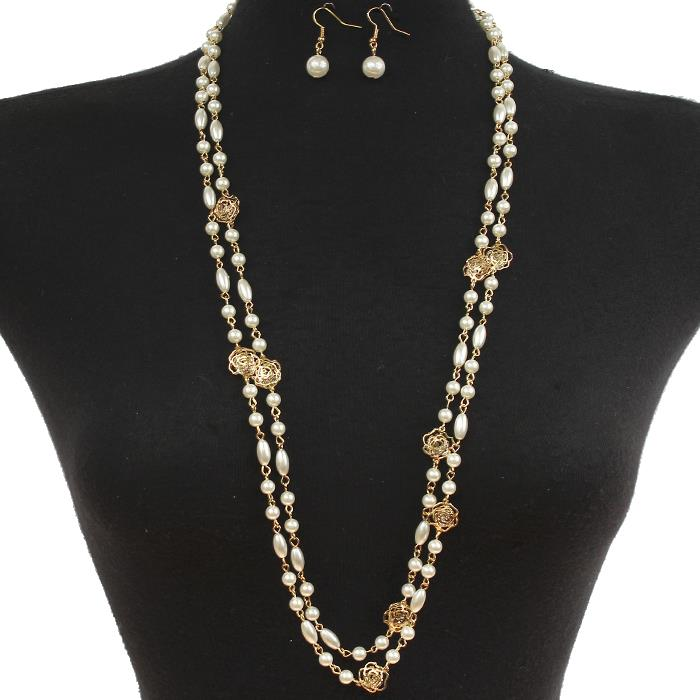 "66"" gold faux pearl flower charm double layered necklace .75"" earrings"