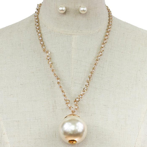 "20"" gold large 1.75"" faux pearl sphere necklace 1"" earrings"